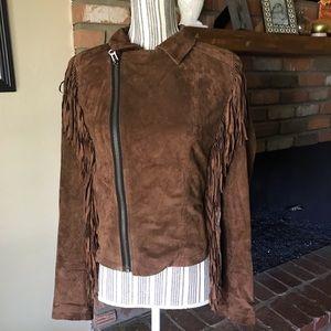 Volcom Stone Row Leather Suede Fringe Jacket Sz S